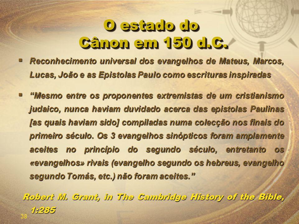 O estado do Cânon em 150 d.C.