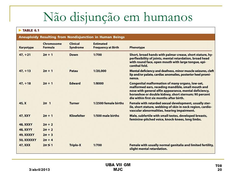 Não disjunção em humanos