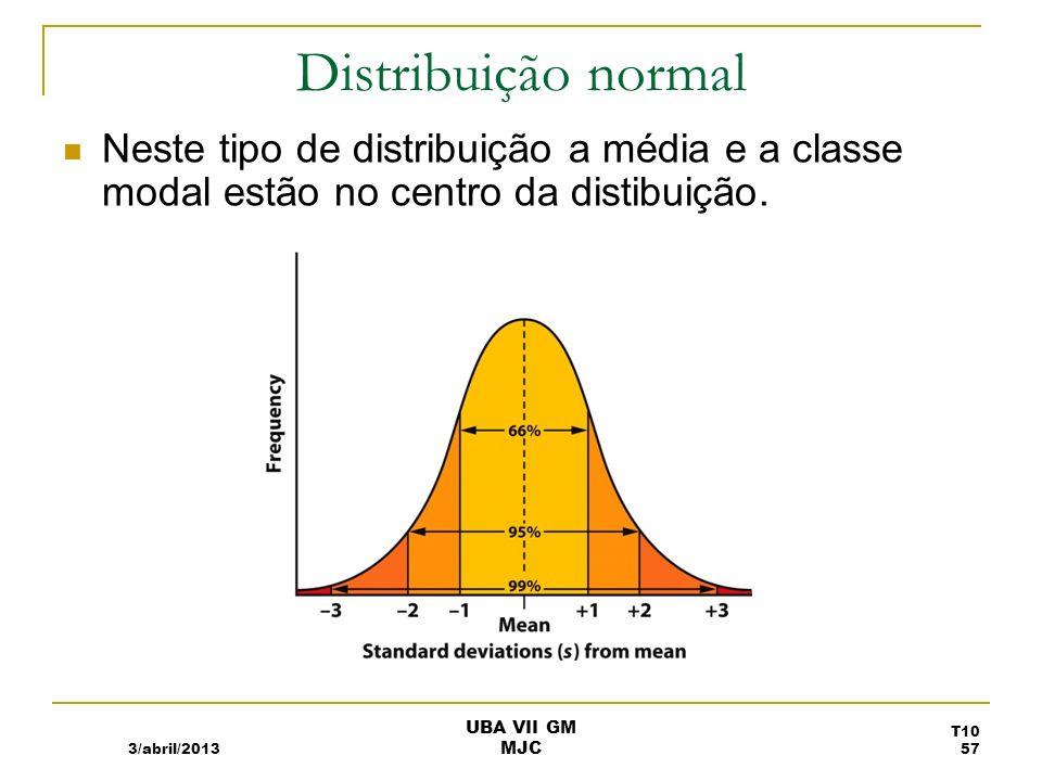 Distribuição normalNeste tipo de distribuição a média e a classe modal estão no centro da distibuição.
