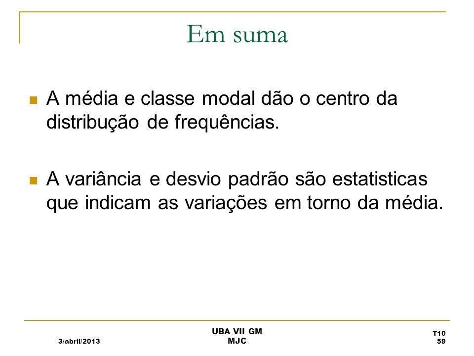 Em sumaA média e classe modal dão o centro da distribução de frequências.