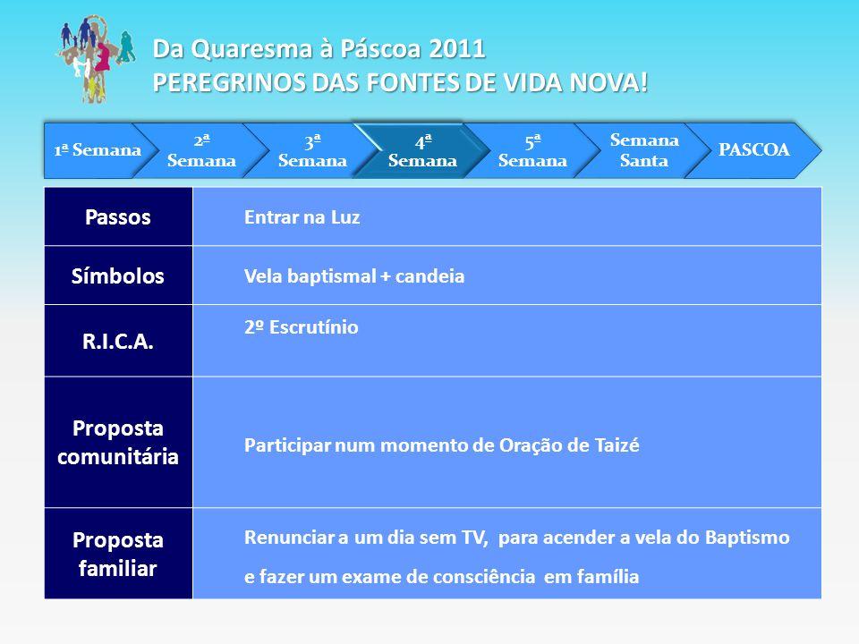 Da Quaresma à Páscoa 2011 PEREGRINOS DAS FONTES DE VIDA NOVA!
