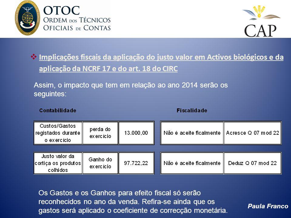 Implicações fiscais da aplicação do justo valor em Activos biológicos e da aplicação da NCRF 17 e do art. 18 do CIRC