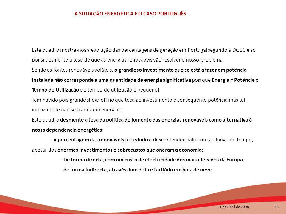 Este quadro mostra-nos a evolução das percentagens de geração em Portugal segundo a DGEG e só por si desmente a tese de que as energias renováveis vão resolver o nosso problema.