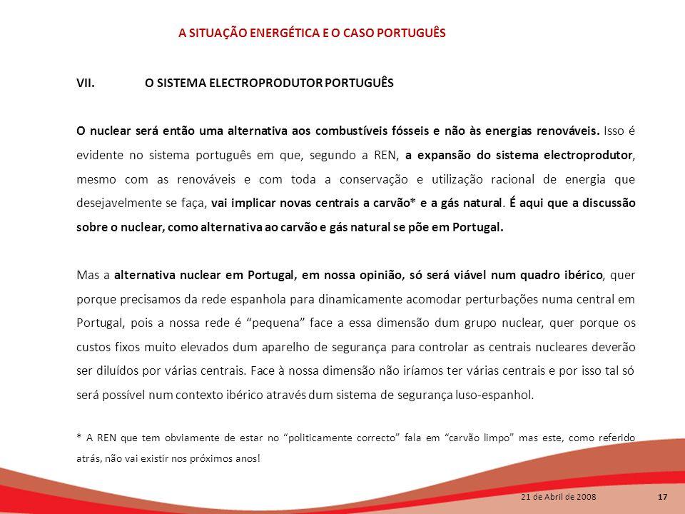 VII. O SISTEMA ELECTROPRODUTOR PORTUGUÊS