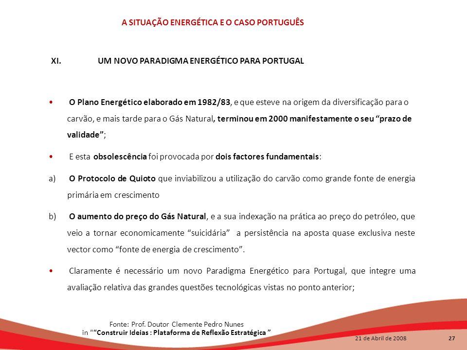 XI. UM NOVO PARADIGMA ENERGÉTICO PARA PORTUGAL