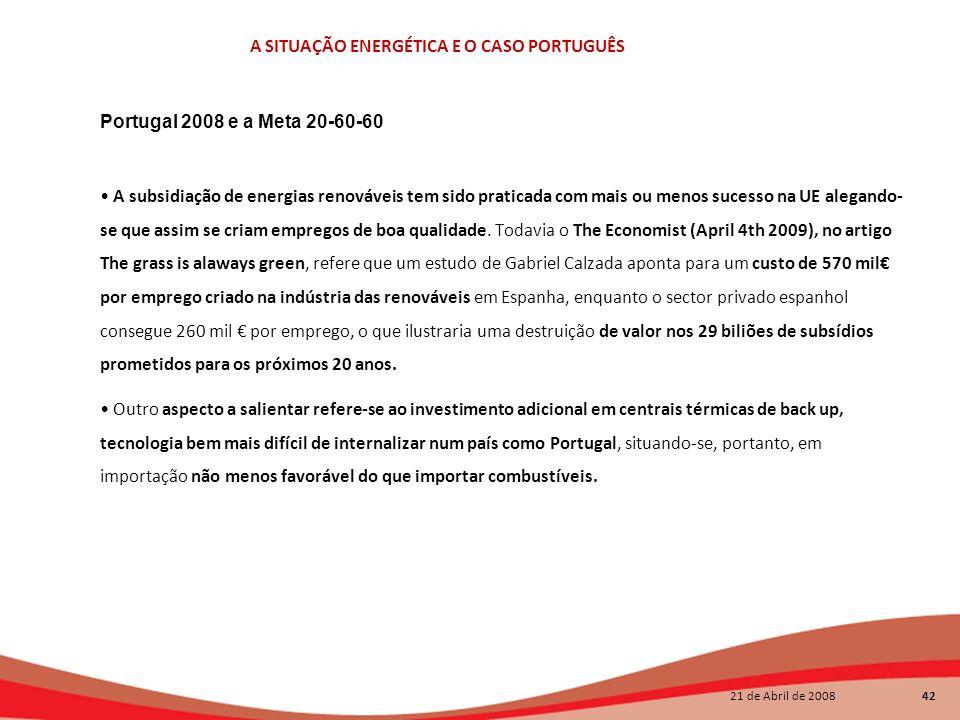 Portugal 2008 e a Meta 20-60-60