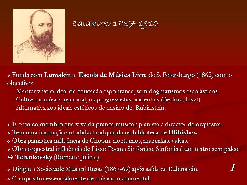 Balakirev 1837-1910 Funda com Lumakin a Escola de Música Livre de S. Petersburgo (1862) com o objectivo: