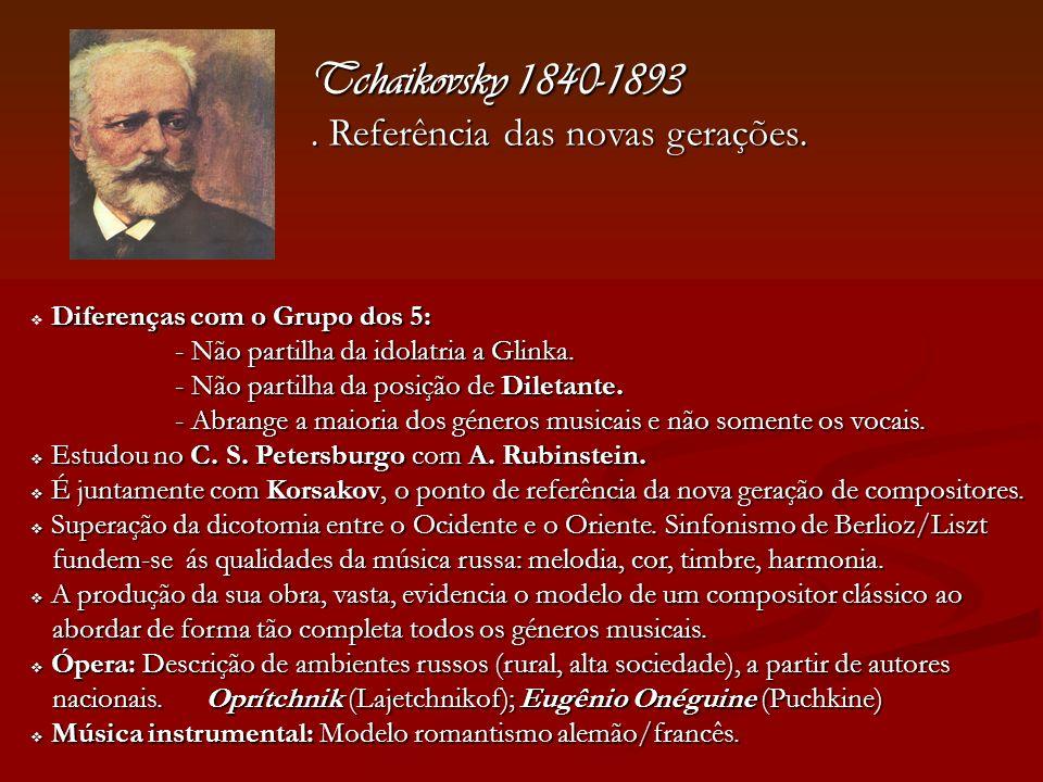 Tchaikovsky 1840-1893 . Referência das novas gerações.