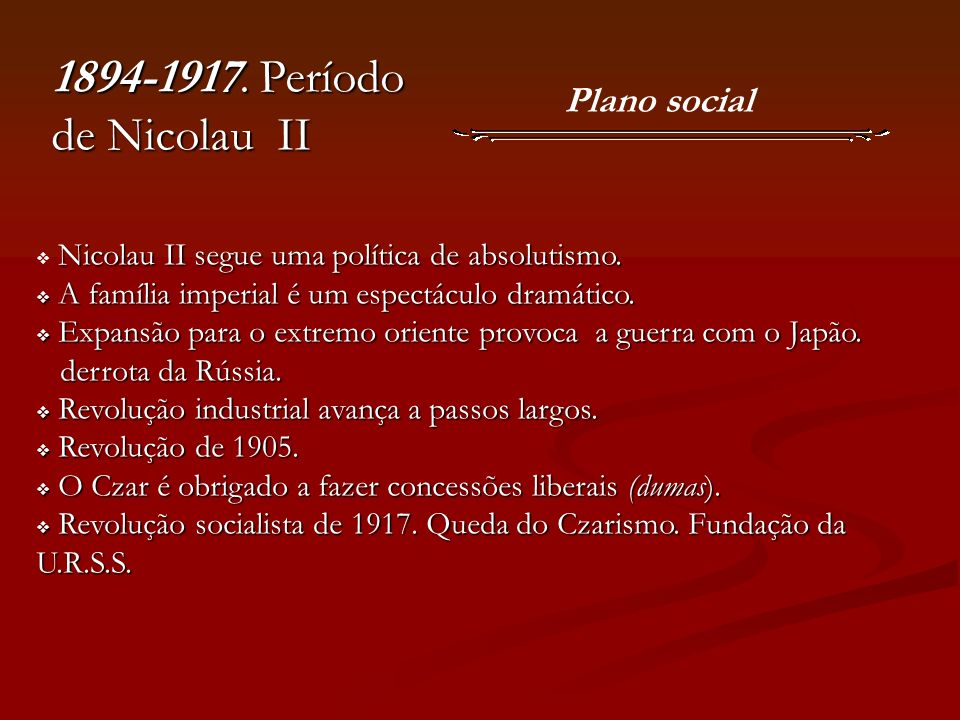 1894-1917. Período de Nicolau II Plano social