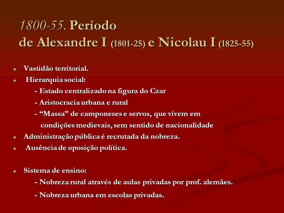 1800-55. Período de Alexandre I (1801-25) e Nicolau I (1825-55)