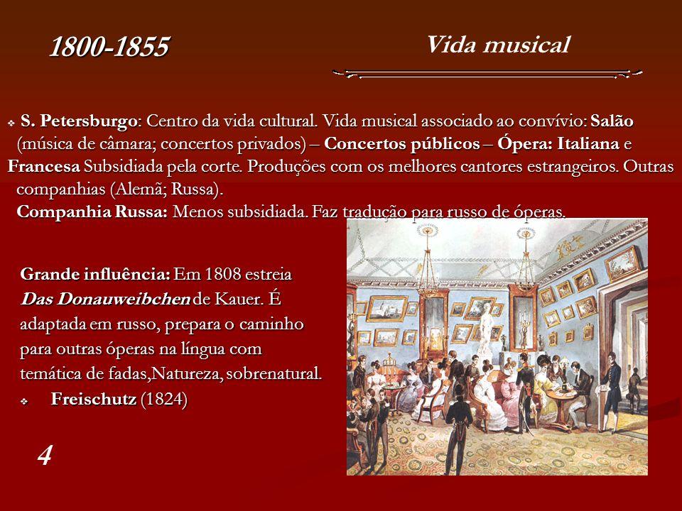 1800-1855 Vida musical. S. Petersburgo: Centro da vida cultural. Vida musical associado ao convívio: Salão.