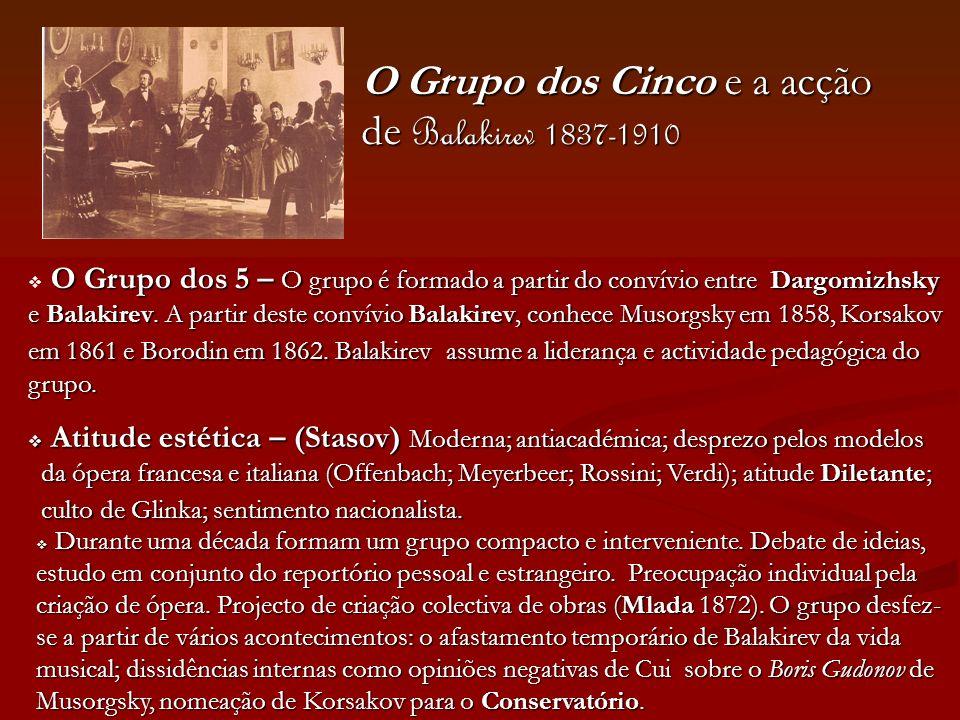 O Grupo dos Cinco e a acção de Balakirev 1837-1910