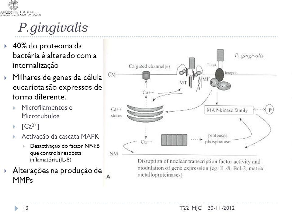 P.gingivalis 40% do proteoma da bactéria é alterado com a internalização.
