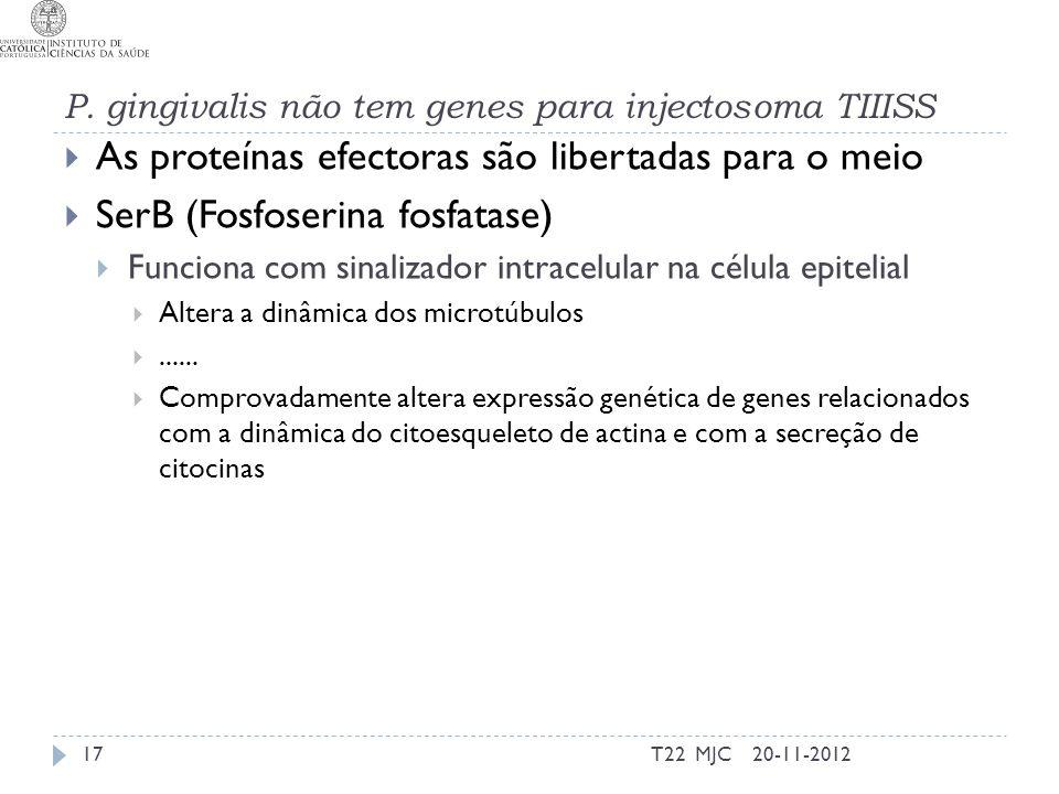 P. gingivalis não tem genes para injectosoma TIIISS