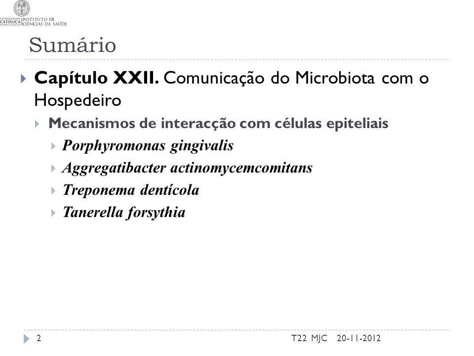 Sumário Capítulo XXII. Comunicação do Microbiota com o Hospedeiro