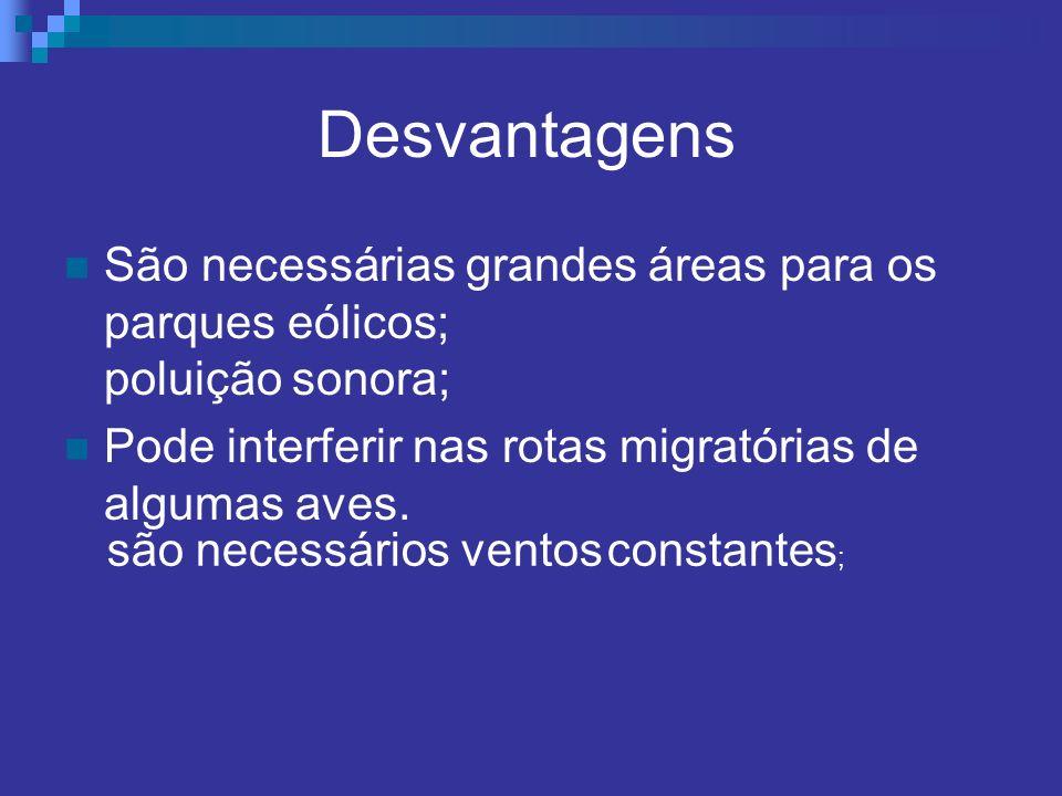 Desvantagens São necessárias grandes áreas para os parques eólicos; poluição sonora; Pode interferir nas rotas migratórias de algumas aves.
