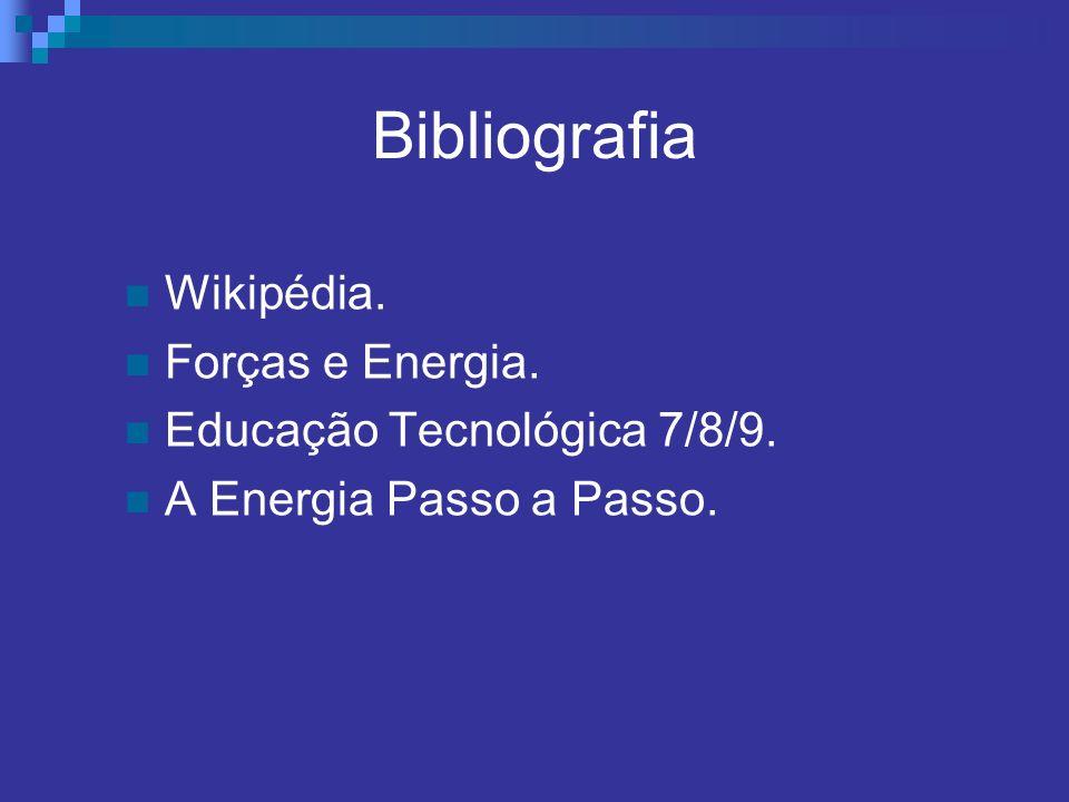 Bibliografia Wikipédia. Forças e Energia. Educação Tecnológica 7/8/9.