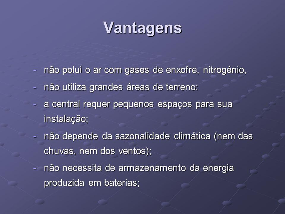 Vantagens não polui o ar com gases de enxofre, nitrogénio,