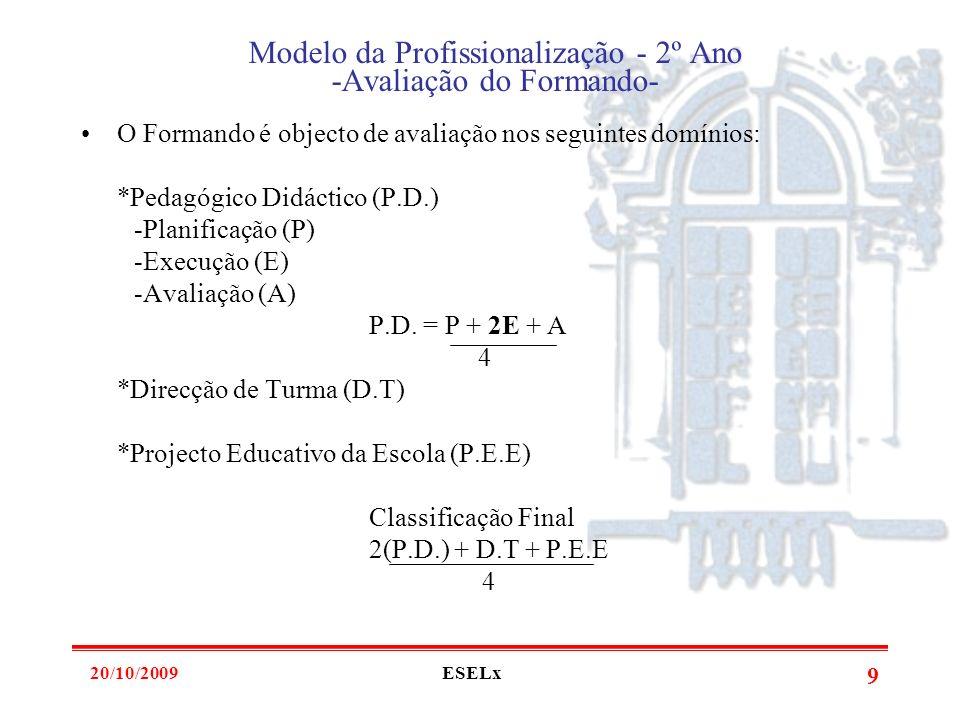 Modelo da Profissionalização - 2º Ano -Avaliação do Formando-