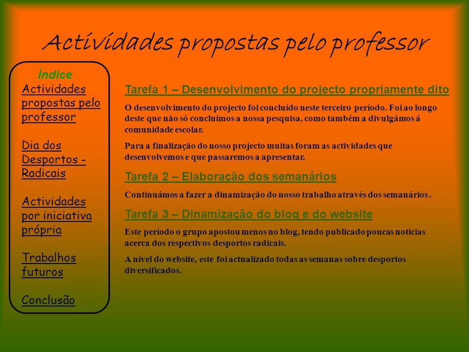 Actividades propostas pelo professor