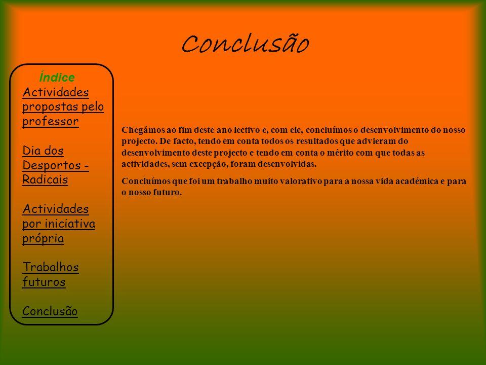 Conclusão Índice Actividades propostas pelo professor