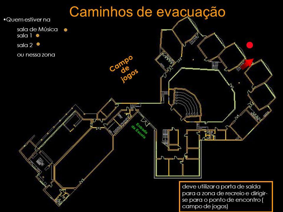 Caminhos de evacuação Campo de jogos Quem estiver na sala de Música