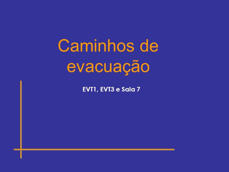 Caminhos de evacuação EVT1, EVT3 e Sala 7