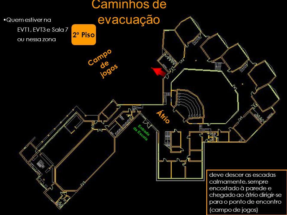 Caminhos de evacuação 2º Piso Campo de jogos Átrio Quem estiver na
