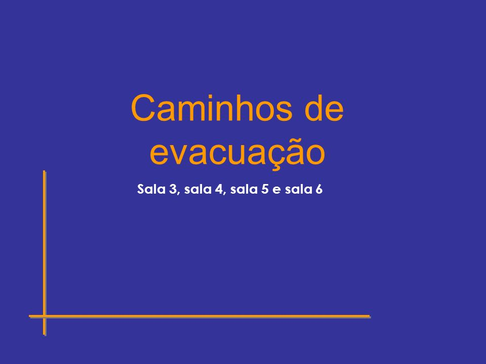 Caminhos de evacuação Sala 3, sala 4, sala 5 e sala 6