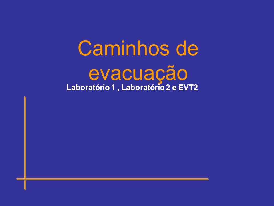 Caminhos de evacuação Laboratório 1 , Laboratório 2 e EVT2
