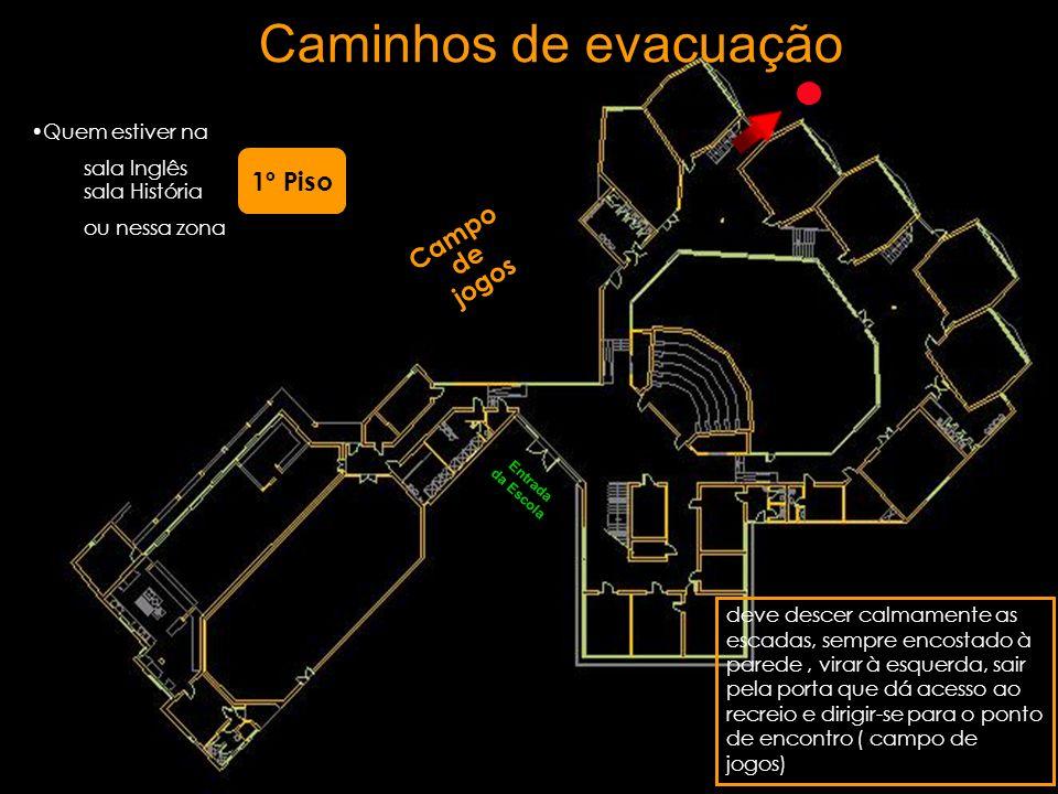 Caminhos de evacuação 1º Piso Campo de jogos Quem estiver na