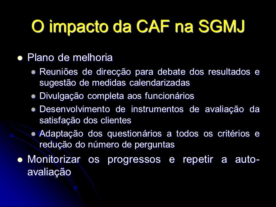 O impacto da CAF na SGMJ Plano de melhoria