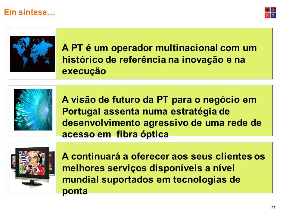 Em síntese…A PT é um operador multinacional com um histórico de referência na inovação e na execução.