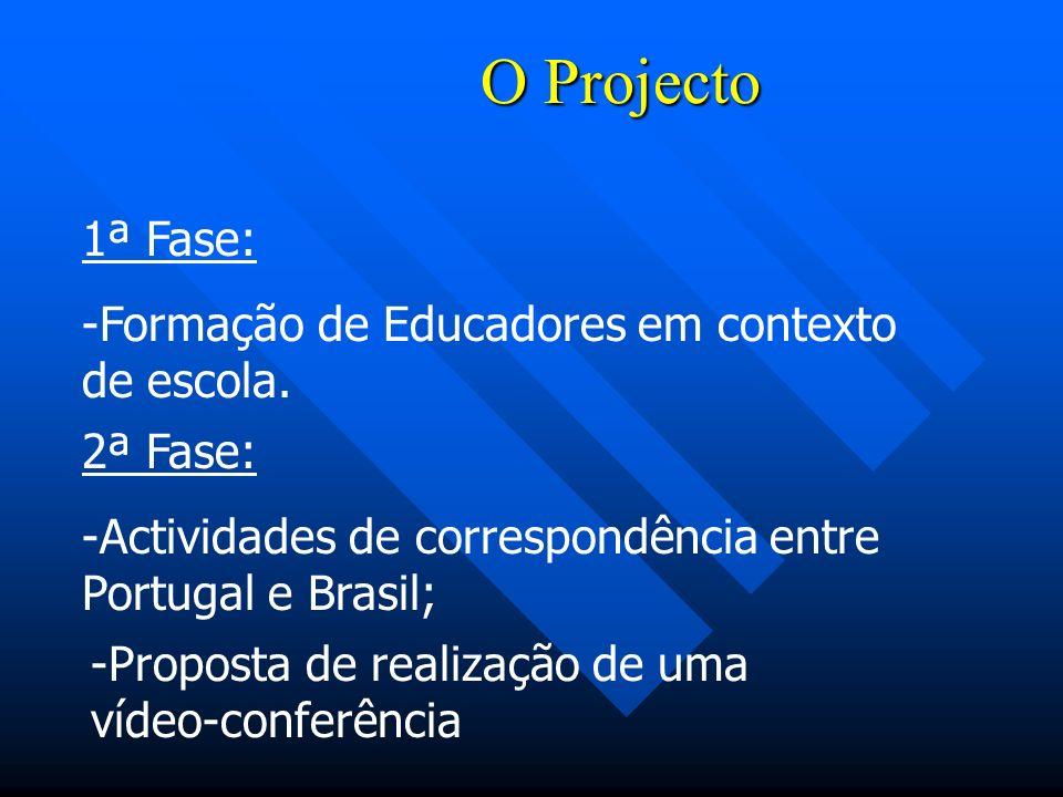 O Projecto 1ª Fase: Formação de Educadores em contexto de escola.