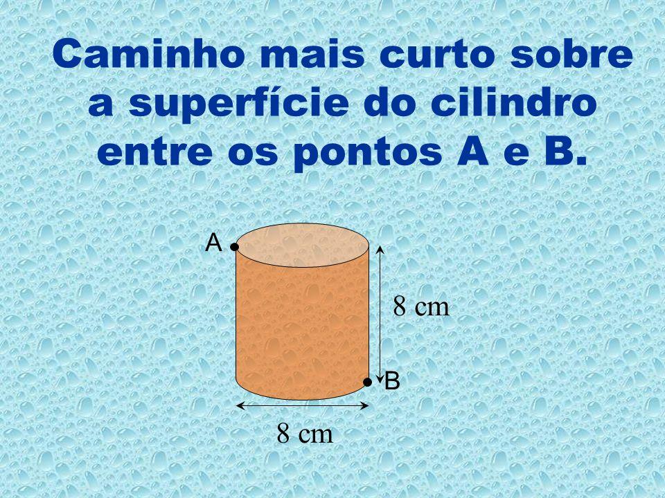 Caminho mais curto sobre a superfície do cilindro entre os pontos A e B.