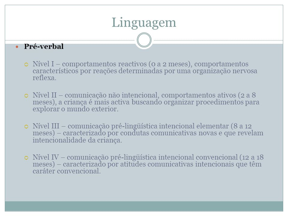 LinguagemPré-verbal.