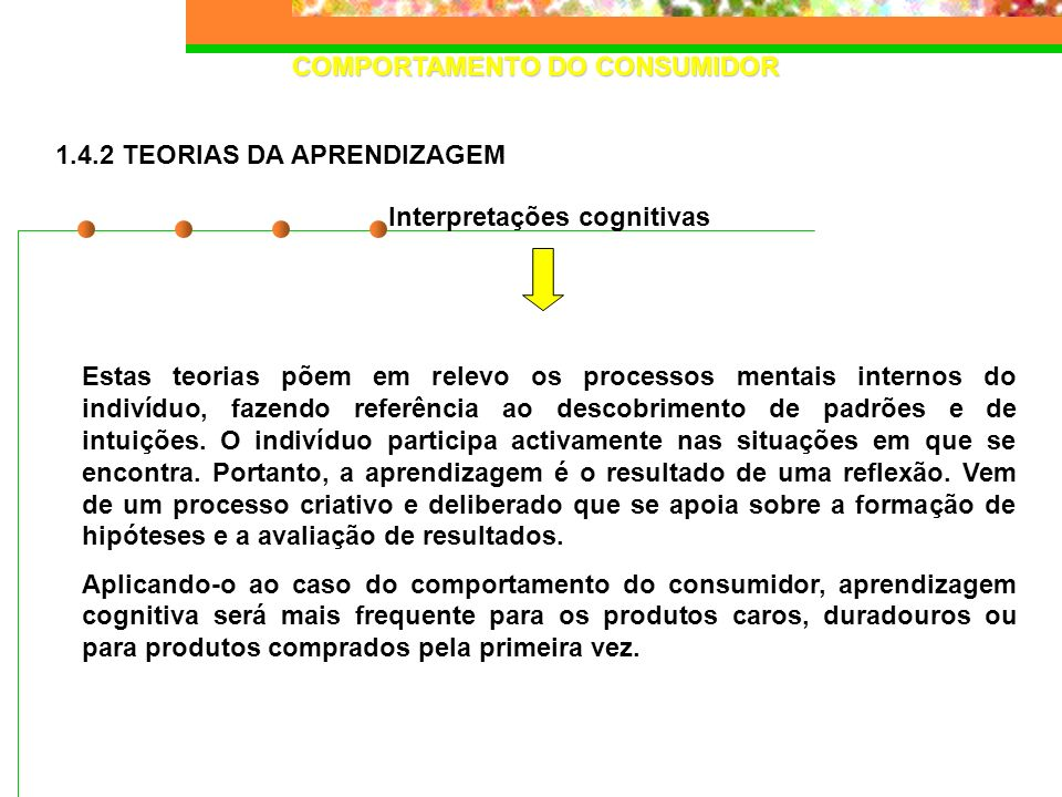 COMPORTAMENTO DO CONSUMIDOR Interpretações cognitivas