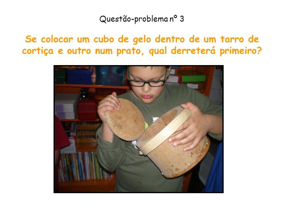 Questão-problema nº 3 Se colocar um cubo de gelo dentro de um tarro de cortiça e outro num prato, qual derreterá primeiro