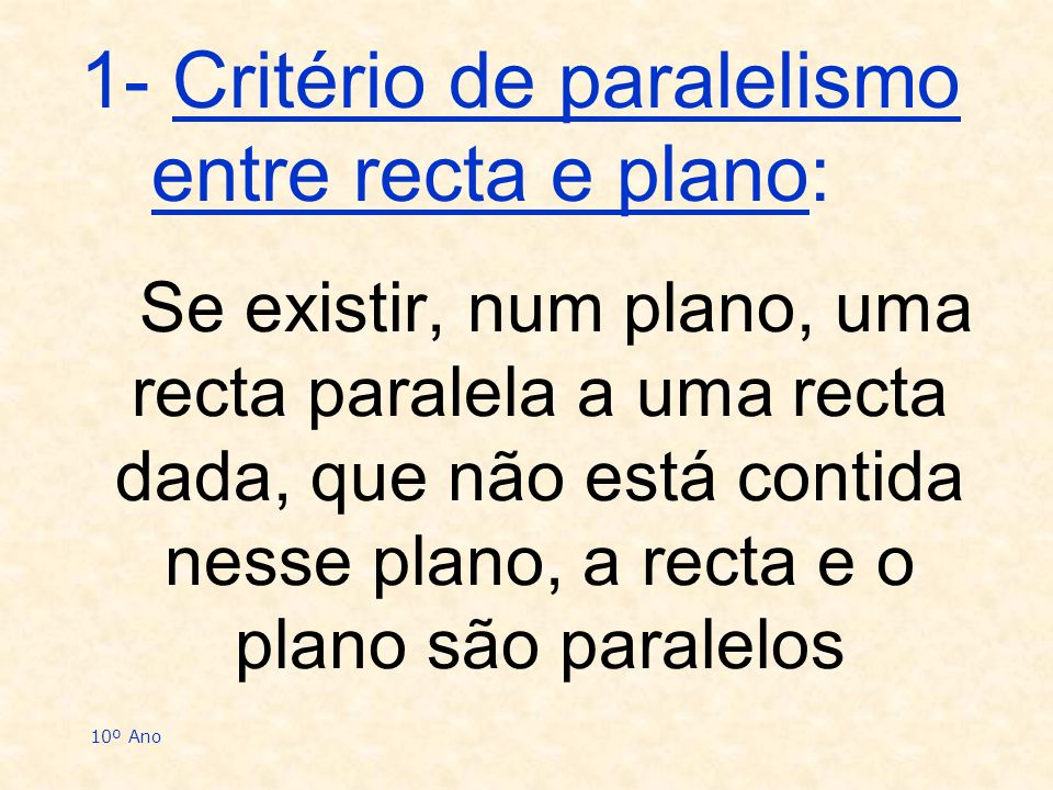 1- Critério de paralelismo entre recta e plano: