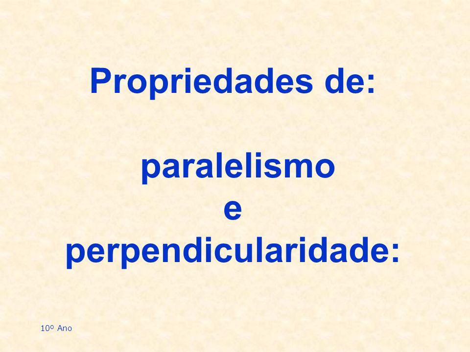 Propriedades de: paralelismo e perpendicularidade: