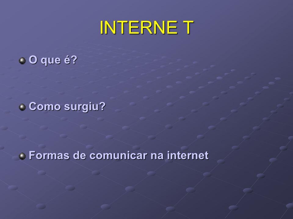 INTERNE T O que é Como surgiu Formas de comunicar na internet