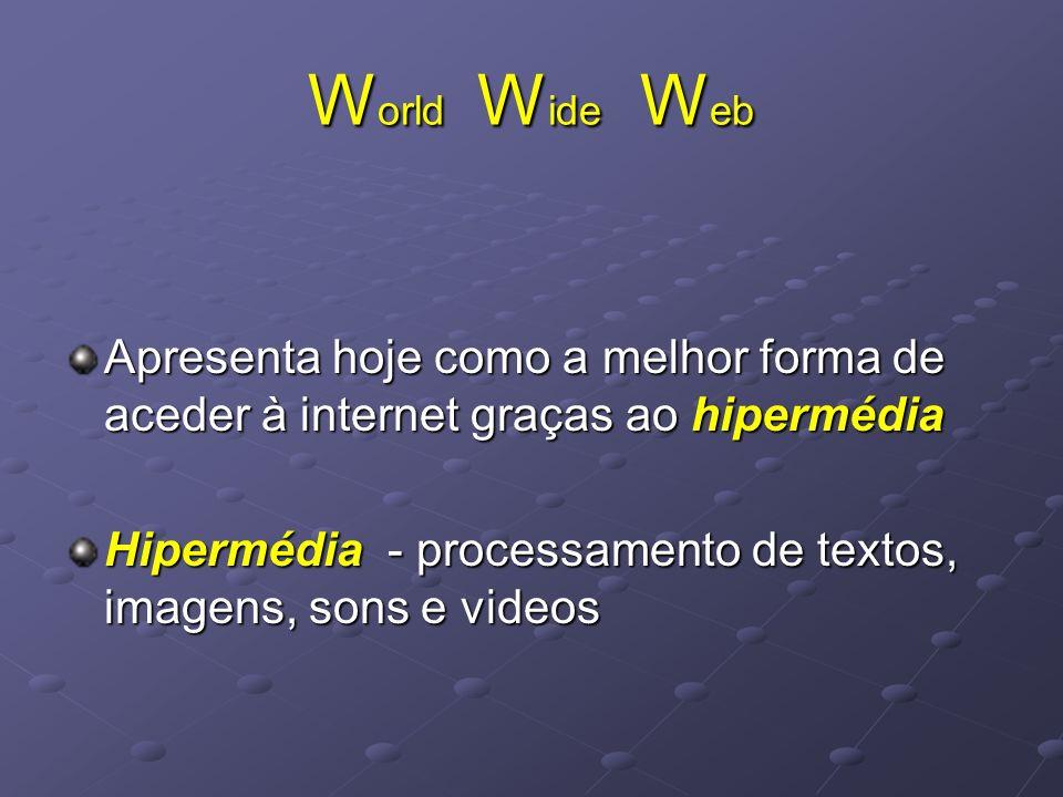 World Wide Web Apresenta hoje como a melhor forma de aceder à internet graças ao hipermédia.