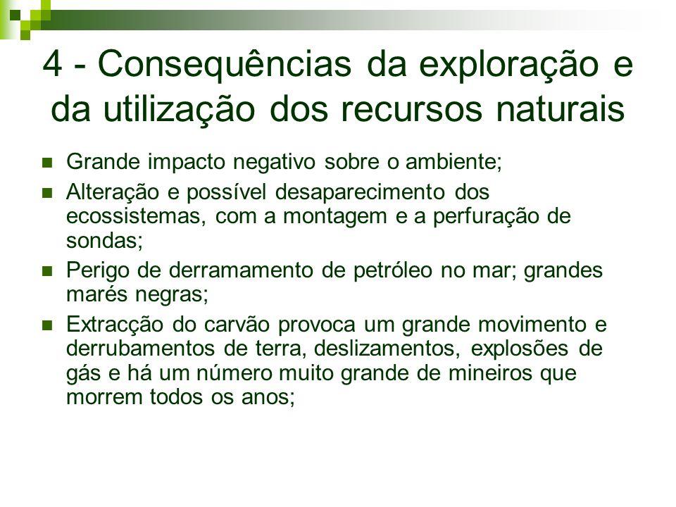 4 - Consequências da exploração e da utilização dos recursos naturais