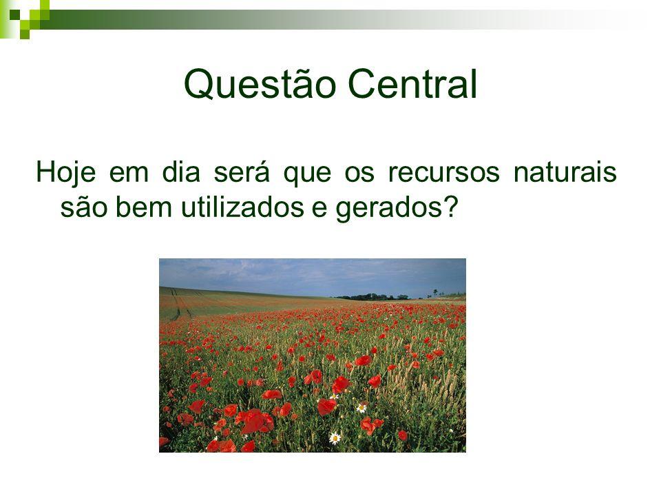 Questão Central Hoje em dia será que os recursos naturais são bem utilizados e gerados
