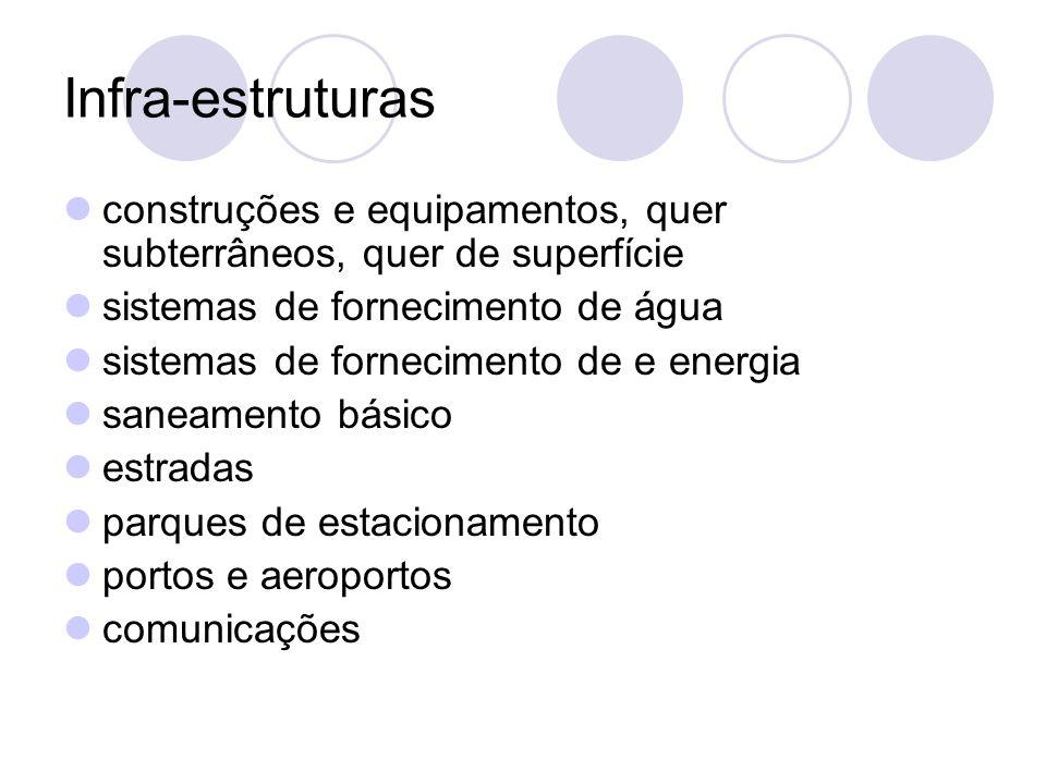 Infra-estruturasconstruções e equipamentos, quer subterrâneos, quer de superfície. sistemas de fornecimento de água.