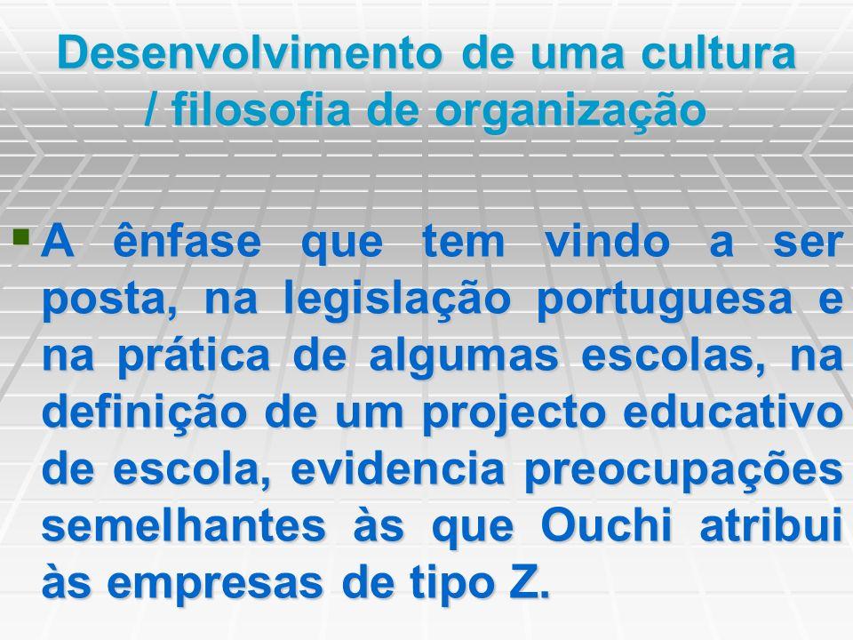 Desenvolvimento de uma cultura / filosofia de organização