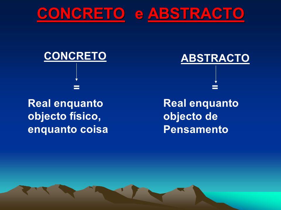 CONCRETO e ABSTRACTO CONCRETO ABSTRACTO = =