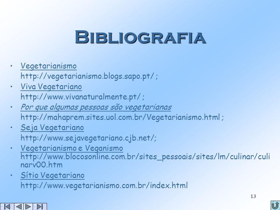 Bibliografia Vegetarianismo http://vegetarianismo.blogs.sapo.pt/ ;