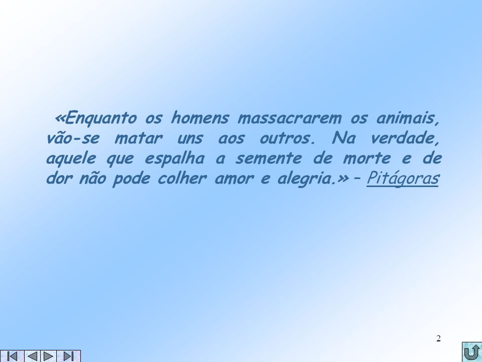 «Enquanto os homens massacrarem os animais, vão-se matar uns aos outros.