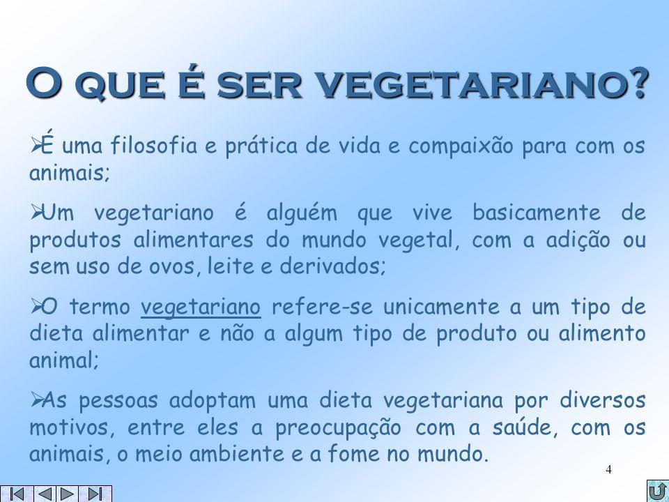 O que é ser vegetariano É uma filosofia e prática de vida e compaixão para com os animais;